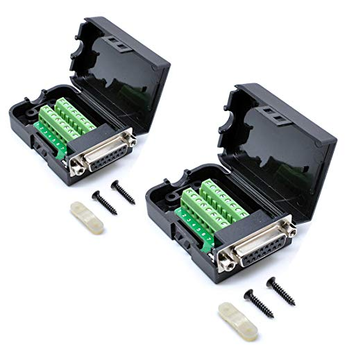 Price comparison product image Oiyagai 2pcs DB15 Female 15Pin Connector Adaptor with Nut Terminal Breakout Board Free Welding