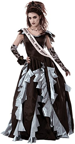 Forum Novelties Women's Zombie Prom Queen Costume, Black/Gray, -