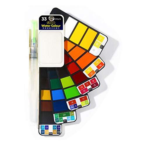 水彩絵の具セット - 多色詰め合わせ パステル水彩画 折りたたみ式ポケット 旅行水彩キット ブラシ付き アーティスト、初心者、学生、フィールドスケッチセット