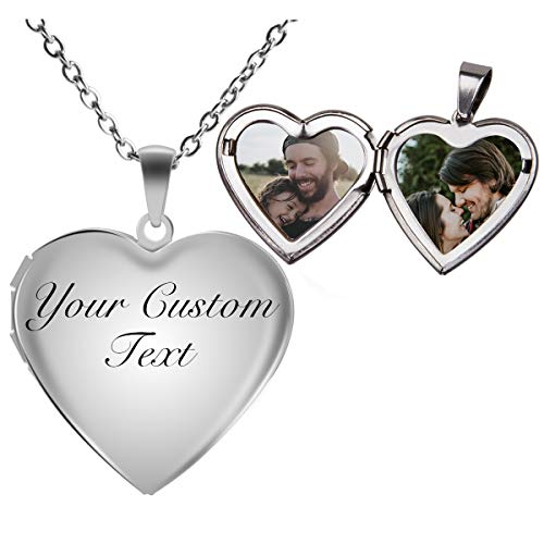 Fanery Sue Personalized Heart Locket Necklace That Holds Pictures Memory Photo Lockets Custom Any Photo Text&Symbols(Custom Photo&Text-Glossy)