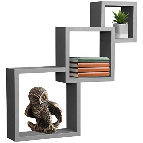 Sorbus Floating Shelf Square Interlocking Cubes with 3 Openings — Decorative Wall Shelves Hanging Display for Photo Frames, Collectibles, and Home Décor (Interlocking 3-Tier Cube – ()