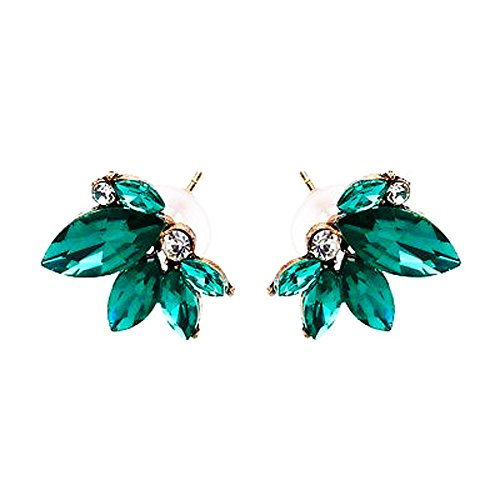 - Art Deco Antique Vintage Style Green Emerald Marquis Rhinestone Bridal Bridesmaid Wedding Prom Cluster Earrings