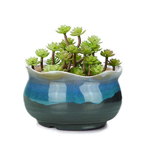 VanEnjoy 5 Large Ceramic Succulent Pot, Multicolor Colorful Flowing Glazed, Indoor Home D cor Cactus Flower Bonsai Pot Planter Container, Candle Holder Ring Bowl Blue A