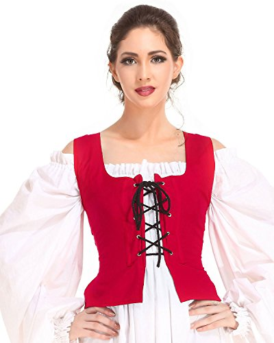 Pirate Wench Peasant Renaissance Medieval Costume Corset Bodice C1051 [Red] (X-Large)