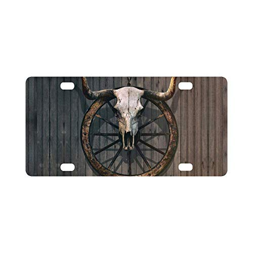 InterestPrint Vintage Bull Skull and Old Western Wagon Wheel on Wooden Wall Metal License Plate Tag Sign Decoration for Car Woman Man - 12