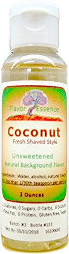 COCONUT Flavoring by Flavor Essence (Unsweetened, Natural Background Flavoring) 2 Oz.| For Beverages: coffee/tea, shakes, smoothies, bar drinks. For Foods: baking, doughs, batters, frostings, yogurt