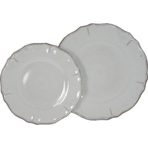 Le Cadeaux Rustica White Melamine Dinnerware, 16 Plates