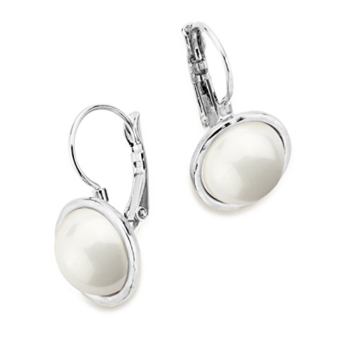 SEA Smadar Classically Designed And Handmade Majorica Pearl Ivy Earrings In 925 Silver Plated Mounting