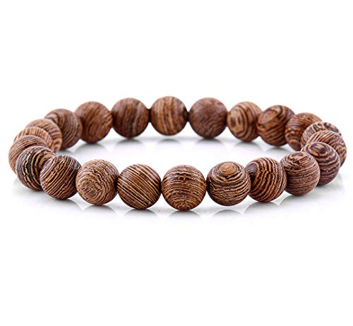 (Natural Tibetan Mala Stone Beaded Bracelet - Matte Black Onyx Bead Designed with Unique Tiger Eye Beads - Yoga Fashion Jewelry for Men and Women (Plain Wood))