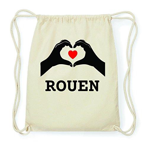 JOllify ROUEN Hipster Turnbeutel Tasche Rucksack aus Baumwolle - Farbe: natur Design: Hände Herz
