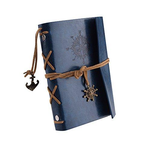 Retro Anker Pirat Ringbucheinlagen Kladde Lederbuch Tagebuch Reisetagebuch Notizbuch Heft Notiz A6 (Blau)