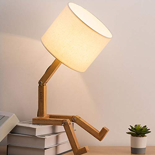 (HAITRAL Fun Desk Lamp - Modern Creative Table Lamp with Wood Base Bedside Nightstand Lamp for Bedroom, Study, Office, Work, Kids Room, Ideal Gifts)