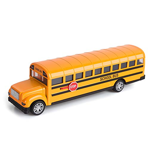 Think Wing School Bus Toy for Toddlers, 8.5 inch Die Cast Pull Back Cars Yellow Bus Play Vehicles with Pull Back…