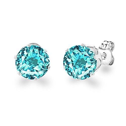 DIANE LOREN 18kt White Gold Plated 8mm Gemstone Crystal Cubic Zirconia Cartilage Stud Birthstone Earrings Women Jewelry