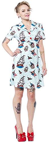 Sourpuss Sailor Rosie Dress XL Blue (Tattoo Print Dress)