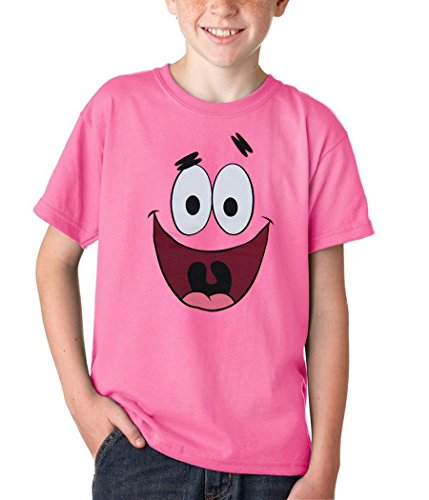 Animation Shops Spongebob Patrick Star Face Youth Kids T-Shirt-Youth Medium [10/12] Hot Pink