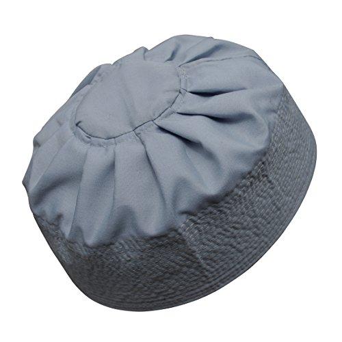 (TheKufi Gray Cotton Pleated Top 3.5in Tall Fabric Kufi Prayer Cap Beanie (XXL))
