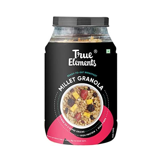 True Elements Crunchy Millet Granola 750g - Power of Millet Flakes, Cereal for Breakfast