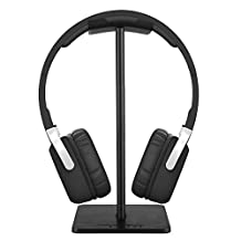 New Bee Headphone Stand Headset Holder Earphone Stand with Aluminum Supporting Bar Flexible Headrest ABS Solid Base for All Headphones Size - Black