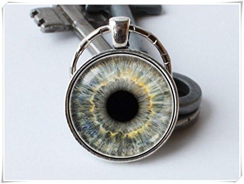 yi sheng Key Chain,Eyeball Keyring, Jewelry, Grey Eye Key Chain, Pendant,Keyring.