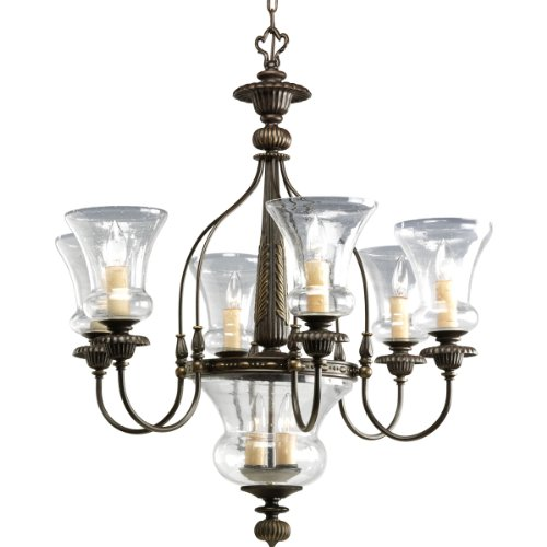 Progress Lighting P4410-77 6-Light Fiorentino Chandelier, Forged - Seven Light Candle Chandelier