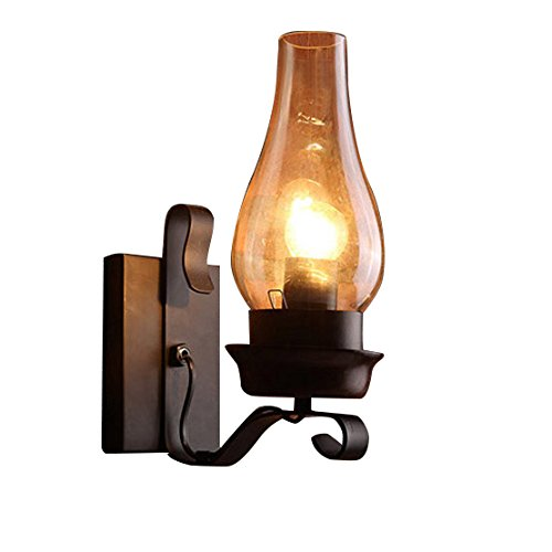Sconce Candle Lighting Tall - Lovedima Vintage Rustic Single light Metal Wall Sconce with Glass Chimney Shade