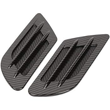 2 Pcs Universal Black Car Decorative Air Scoop Flow Intake Hood Vent Bonnet DIY