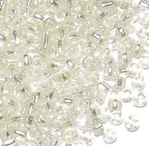Steven_store SBX11 Crystal Clear Silver Lined 6/0 4mm Rondelle Glass Seed Beads 450-grams Making Beading Beaded Necklaces Yoga Bracelets