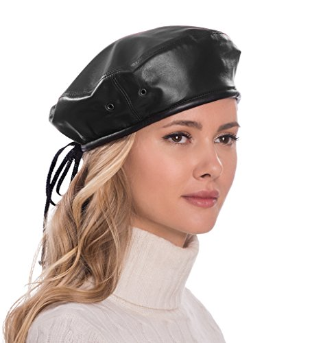 Eric Javits Luxury Fashion Designer Women's Headwear Hat- Leather Beret - Black