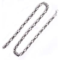 Hoyoo Jewelry 8mm Stainless Steel Byzantine Chain Necklace Mens Womens Necklace 24 inches