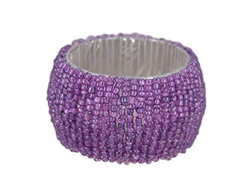 ShalinIndia Handmade Beaded Napkin Rings Set With 4 Purple Glass Beaded Napkin Holders - 1.5 Inch in Size