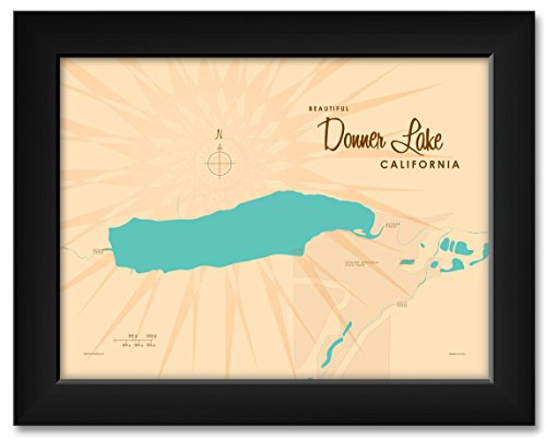Donner Lake California Vintage-Style Map Framed Art Print by Lakebound Print Size: 9
