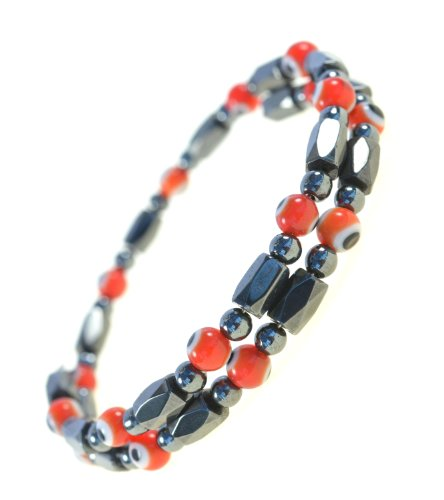 Magnetic Hematite Wrap Bracelet Anklet Red Evil Eye Beads - Good for Protection and Healing - 91177 - Magnetic Hematite Wrap Bracelet
