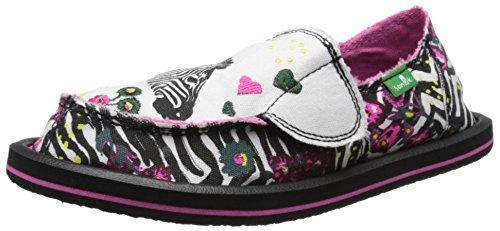 Sanuk Kids Scribble LL Girls Sidewalk Surfer Shoe , Zebra Fl