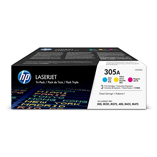 HP 305A (CF370AM) Cyan, Magenta & Yellow Original Toner Cartridges, 3 Cartridges (CE411A, CE412A, CE413A) for HP LaserJet Pro 400 Color MFP M451nw M451dn M451dw, Pro 300 Color MFP - Hp Printer Laser 400
