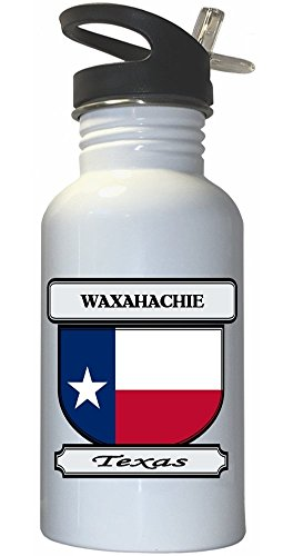 Waxahachie, Texas (TX) City White Stainless Steel Water Bottle Straw Top