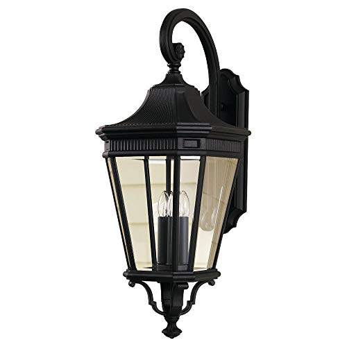 Feiss OL5404BK Cotswold Lane Outdoor Patio Lighting Wall Lantern, Black, 3-Light (12