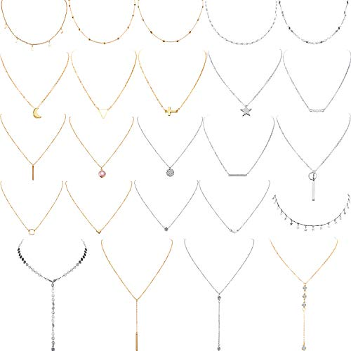 Yaomiao 24 Pieces Layered Necklace Multilayer Choker Necklace Tiered Chokers Necklace Charm Pendant Necklace for Women Girls (Gold and Silver)