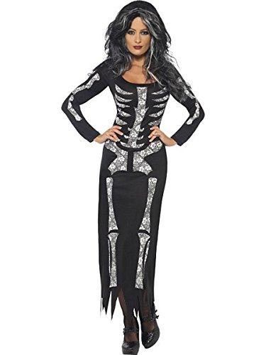 Smiffy's Women's Skeleton Costume Tube Dress with Long Sleeves, Black/White, 1X (Long Sleeve Plus Size Costume)
