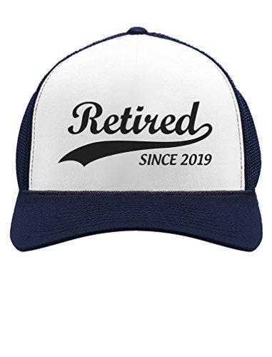 Retired Since 2019 - Cool Retirement Gift Idea Retiring Trucker Hat Mesh Cap One Size Navy/White