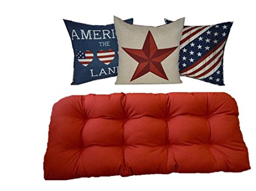 Indoor / Outdoor Red Tufted Cushion for Wicker Loveseat Settee & America / 4th of July / American Pride Pillows (Pride Patio Furniture)
