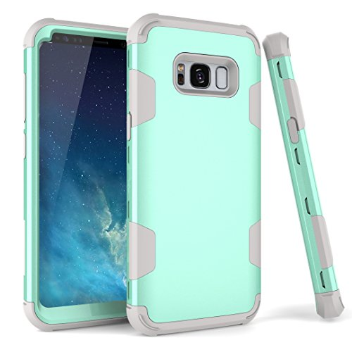 Galaxy S8 Plus Case, SmartLegend 3 in 1 Hybrid Shockproof Full-Body Protective Case with Interior TPU Buffering Cushion Heavy Duty High Impact Resistant Case Cover for Samsung Galaxy S8 Plus - Teal (Case Samsung S Paris 3 Galaxy)