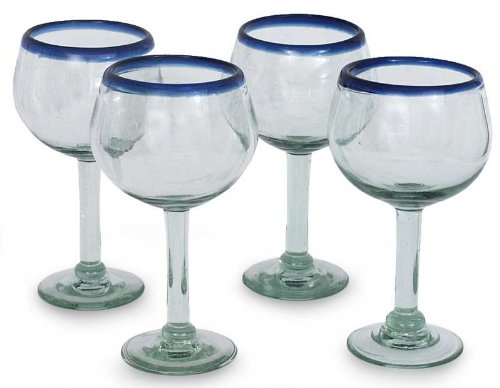 - NOVICA Hand Blown Clear Blue Recycled Glass Wine Glasses, 12 oz 'Sapphire Globe' (set of 4)