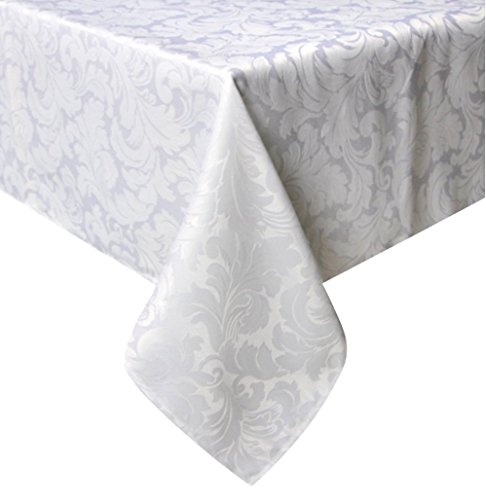 Tektrum 70 X 70 inch Square Damask Jacquard Tablecloth Table Cover - Waterproof/Spill Proof/Stain Resistant/Wrinkle Free/Heavy Duty - Great for Banquet, Parties, Dinner, Kitchen (70 x 70, White)