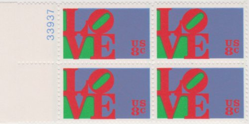 LOVE 4 X 8¢ US Postage Stamps Scott (Love Postal Stamps)