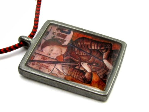 Joan of Arc Full Color Pendant With Mini Cross on Red / Black Corded Necklace