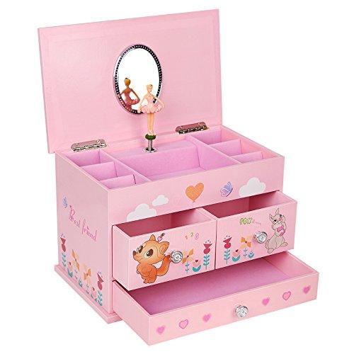 SONGMICS Ballerina Music Jewelry Box for Little Girls 3 Drawers Pink UJMC004 -