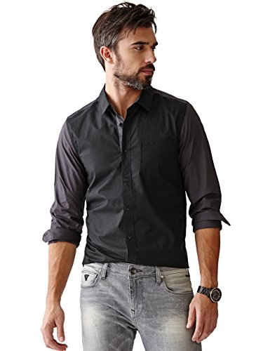 GUESS Men's Nottingham Slim-Fit Color-Blocked Shirt