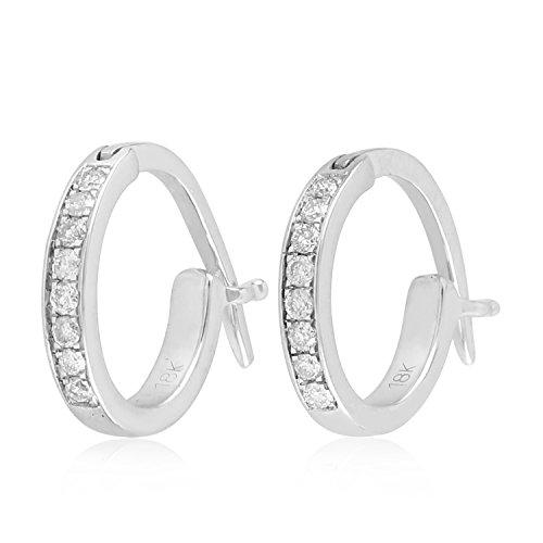 18K White Gold Micropave-Set White Diamond Huggie Hoop Fashion Earrings For Women