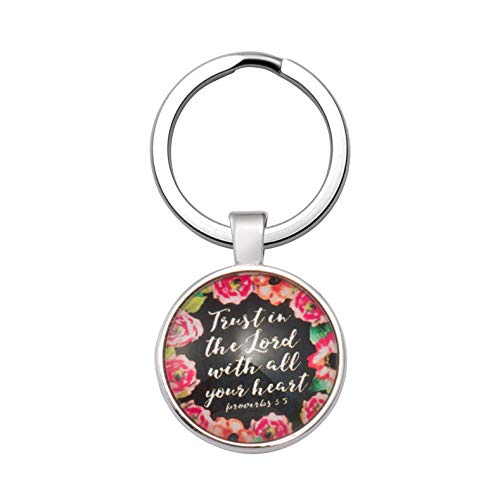 Religious Keychain Gift Jewelry for Women Inspirational Key Chain Christmas Gifts for Daughter Trust in the Lord With All Your Heart